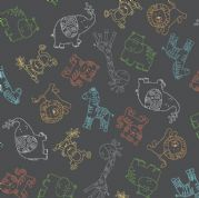 Jungle Friends - 7040 - Animal Outline on Charcoal Background  - 2199_S - Cotton Fabric